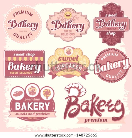Vintage bakery badges and labels  - stock vector