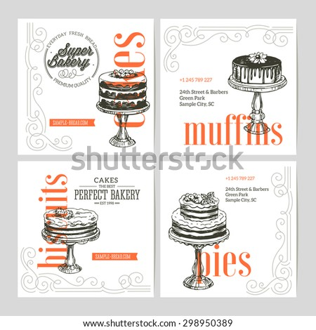 Vintage Bakery banner collection. Vector Illustration - stock vector
