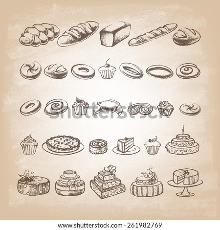 Vintage Bakery Poster. Freehand drawing: bread and other pastries. Retro vintage style food design. Sketches of desserts.  Vector illustration. - stock vector