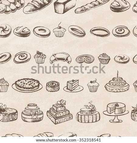 Vintage Bakery Poster. Freehand drawing: bread and other pastries. Retro vintage style food design. Sketches of desserts. Seamless  pattern.  Vector illustration.  - stock vector