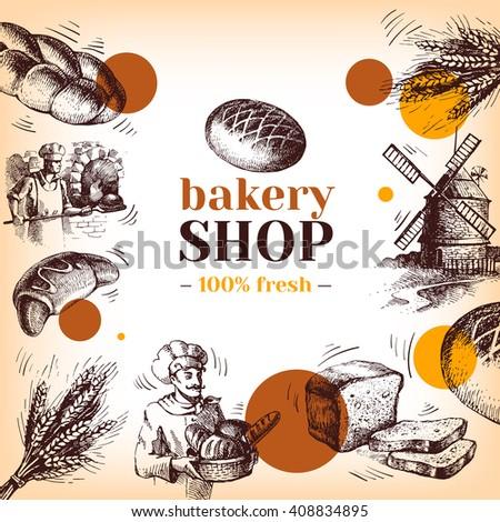 Vintage bakery sketch background. Sketch hand drawn illustration - stock vector