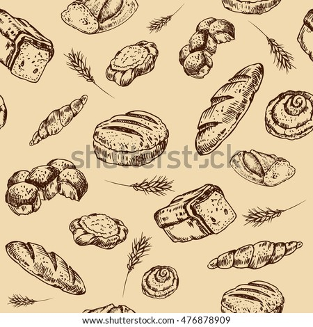 Vintage bakery sketch style seamless pattern. Set of fresh bread. Hand drawn illustration of bread  and bakery product. Bakery hand drawn backgrownd. Vector brown and  beige engraving  illustration.