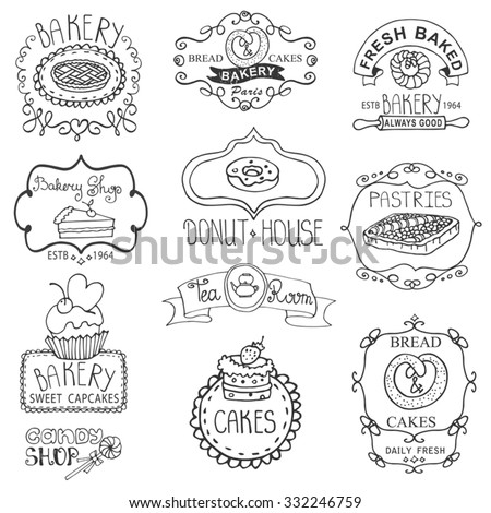 Vintage Bakery sweet cakes logo badges and  labels.Hand drawing doodles logotypes.Retro Collection for cafe,menu branding.Vector colored set - stock vector