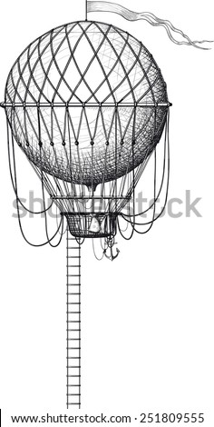 Vintage balloon with a ladder and flag isolated on white