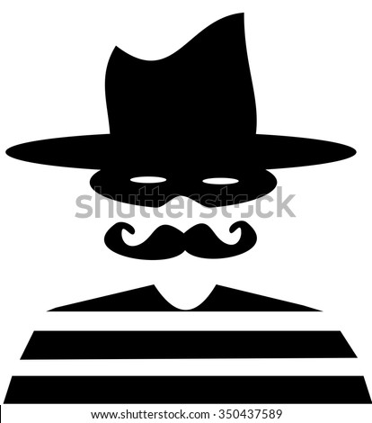 vintage bank robber with cowboy hat - stock vector