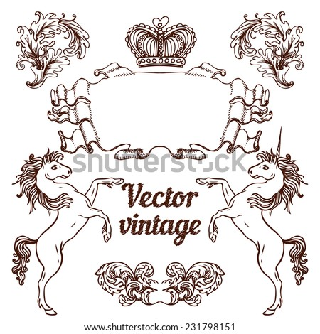 Vintage banner elements set, vector illustration. Copy space for your text.  - stock vector