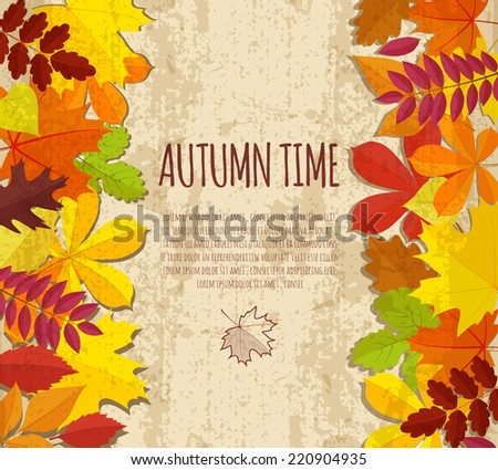 vintage banner with autumn foliage.vector illustration - stock vector
