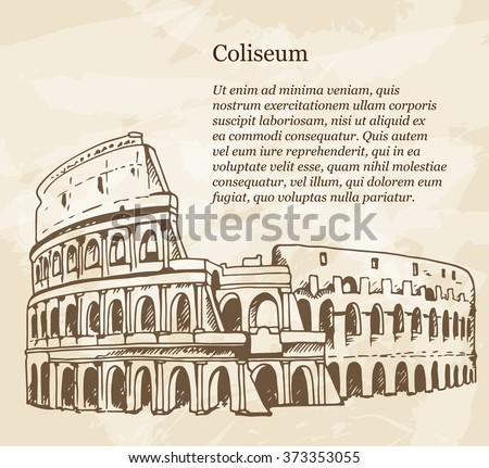 Vintage banner with hand drawn illustration of Coliseum (Colosseum), Rome, Italy. Travel Italy beige grunge background with place for text - stock vector