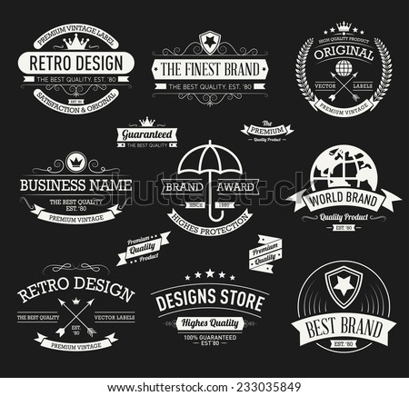Vintage banners and frames hand drawn vector set - stock vector