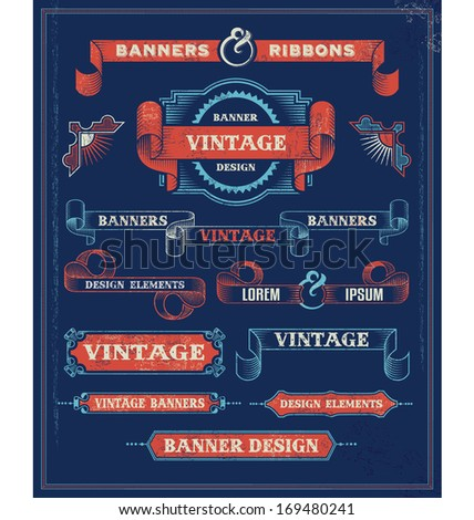 Vintage Banners and Ribbon Design Elements. Retro Vector Background with removable textures. - stock vector