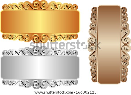 vintage banners gold silver brown