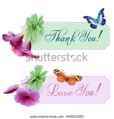 Vintage banners with blooming flowers, butterflies, 'Thank You' / 'Love You' wording and place for your text. Vector illustration - stock vector