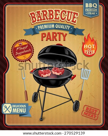Vintage barbecue poster design - stock vector