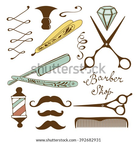 Vintage barber shop objects collection - stock vector