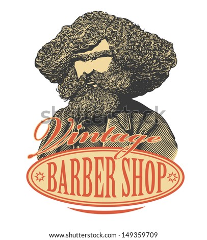Vintage barber shop sign board with bearded man - stock vector