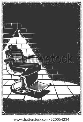 Vintage Barbershop Background Barber Chair Lamp Stock Vector 520054234
