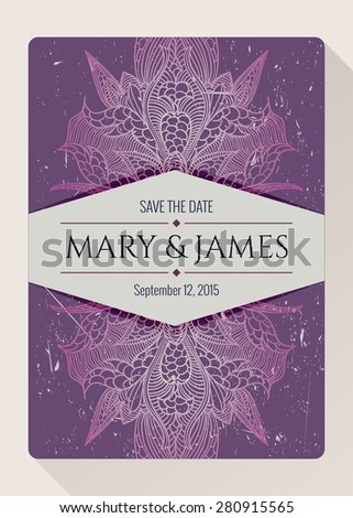 Vintage baroque colorful lace card vintage butterfly wings. Vector floral damask ornament for wedding. Ideal for Save The Date,mothers day, valentines day, birthday cards, invitations. - stock vector