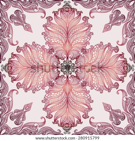 Vintage baroque colorful lace seamless pattern vintage butterfly wings. Vector floral damask ornament for wedding. Ideal for Save The Date,mothers day, valentines day, birthday cards, invitations. - stock vector