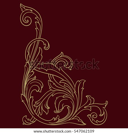 Vintage baroque corner scroll ornament engraving border floral retro pattern antique style acanthus foliage swirl decorative design element filigree calligraphy vector | damask - stock vector