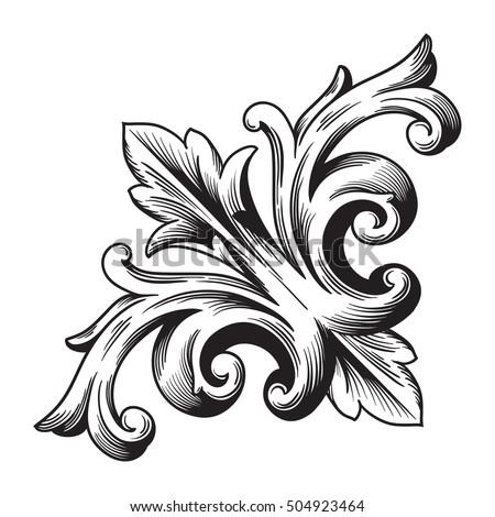 Vintage Baroque Corner Scroll Ornament Engraving Stock ...