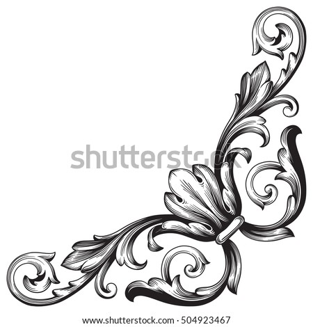 vintage baroque corner scroll ornament engraving stock vector rh shutterstock com vector filigree free vector filigree free