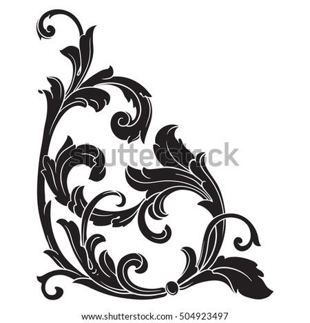 vintage baroque corner scroll ornament engraving stock photo photo rh shutterstock com
