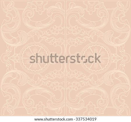 Vintage baroque damask floral ornament. Wallpaper textile surface seamless pattern. Engraving drawing of retro antique style. Decorative design elements and vector background.