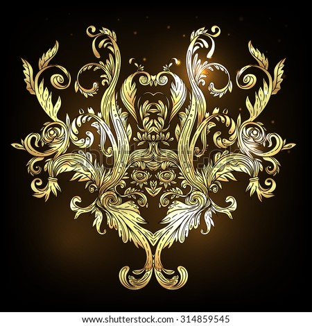 Vintage baroque floral design in gold. Ornate vector decoration. Luxury, royal and Victorian concept. Golden element isolated on black. - stock vector