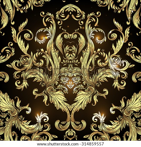 Vintage Baroque Floral Pattern In Gold Ornate Vector Decoration Luxury Royal And Victorian