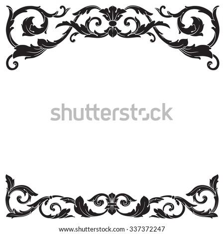 vintage baroque frame scroll ornament engraving stock vector 2018 rh shutterstock com