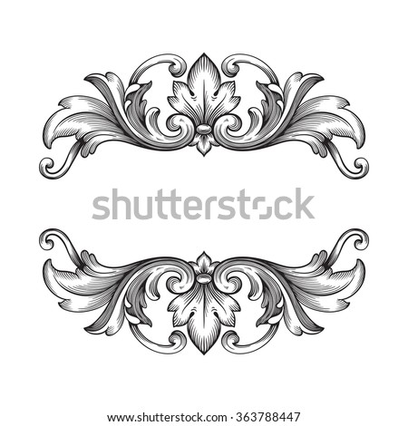 vintage baroque frame scroll ornament engraving border floral retro pattern antique style acanthus foliage swirl decorative