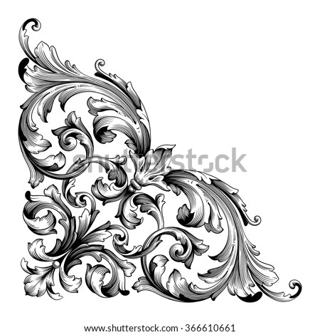 Vintage baroque frame scroll ornament engraving border floral retro pattern antique style acanthus foliage swirl decorative design element filigree calligraphy vector. Damask style - stock vector