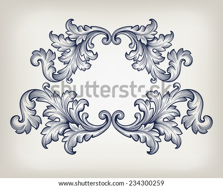 Vintage baroque frame scroll ornament engraving border retro pattern antique style decorative design element vector - stock vector