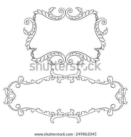 Vintage baroque frame set leaf scroll floral ornament engraving border retro pattern antique style swirl decorative design element black and white filigree vector - stock vector