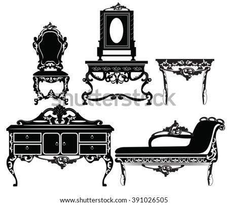 Vintage Baroque furniture set with luxurious ornaments. Vector - stock vector