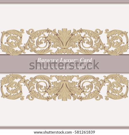 Vintage Baroque Invitation card Imperial style. Vector decor background. Luxury golden ornament. Royal Victorian floral for birthday, wedding, textile print, wallpaper, wrapping. Pink rose quartz