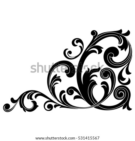 Vintage Baroque Ornament Corner Retro Pattern Stock Vector ...