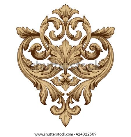 Vintage baroque ornament. Retro pattern antique style acanthus. Decorative design element filigree calligraphy vector. - stock vector