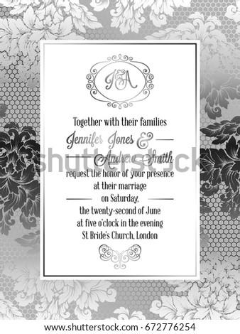 Vintage Baroque Style Wedding Invitation Card Stock Vector 672776254 ...