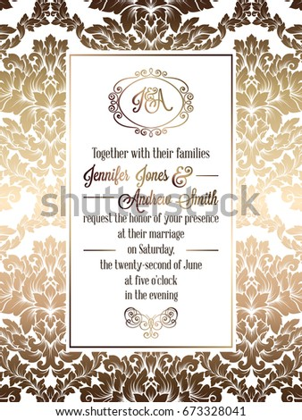 Vintage baroque style wedding invitation card stock vector 2018 vintage baroque style wedding invitation card template elegant formal design with damask background stopboris Choice Image