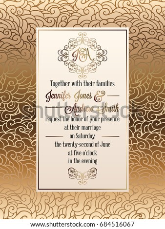 Vintage baroque style wedding invitation card stock photo photo vintage baroque style wedding invitation card template elegant formal design with damask background stopboris Gallery