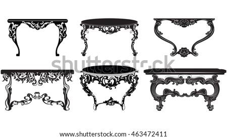 Vintage Baroque Table Set Collection Elegant Stock Vector 463472411 ...