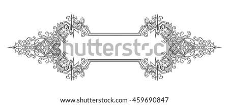 border frame victorian. Vintage Baroque Victorian Frame Border Monogram Floral Ornament Leaf Scroll Engraved Retro Flower Pattern Decorative Design A