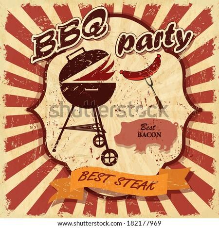 Vintage BBQ banner - stock vector