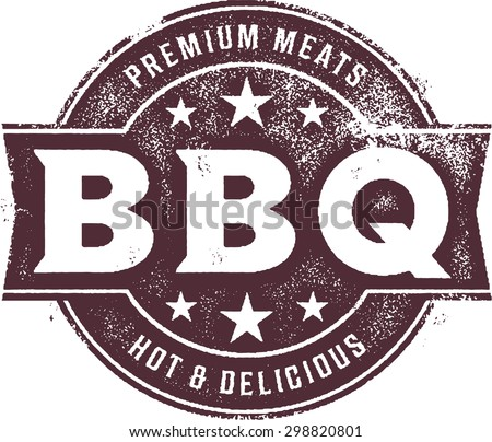 Vintage BBQ Barbecue Menu Stamp - stock vector