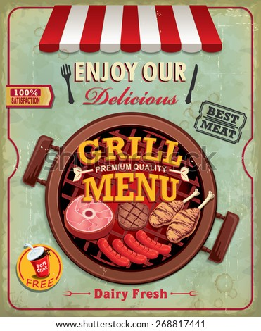 Vintage BBQ grill menu poster design with sausage, meat, beef. chicken - stock vector