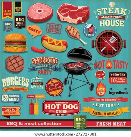 Vintage BBQ meat poster design element  - stock vector