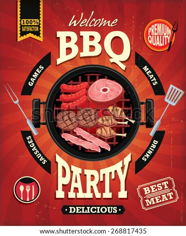 Vintage BBQ party menu poster design with sausage, meat, beef. chicken, bacon - stock vector