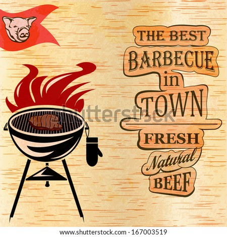 Vintage BBQ poster - stock vector