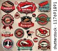 Vintage BBQ seafood steak labels, icons, badges template set - stock vector